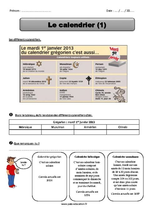 Calendrier - Ce2 - Exercices - Pass Education