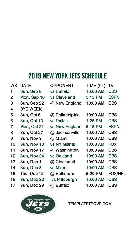 2019-2020 New York Jets Lock Screen Schedule for iPhone 6