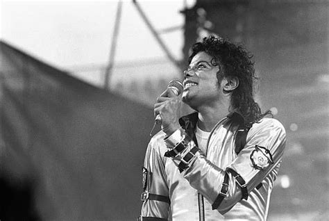Michael Jackson performs live on stage at the Feijenoord